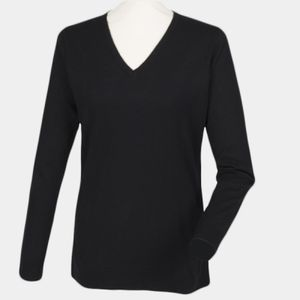 Women's cashmere touch acrylic v-neck jumper Thumbnail